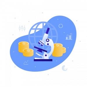 vector-flat-business-medicine-science-illustration-microscope-money-vector-id1195113474